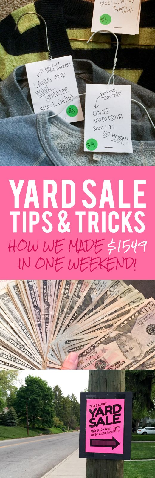 Yard Sale Tips & Tricks. Bear this in mind for car boot sale too