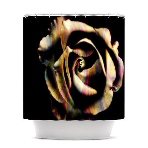 "Ingrid Beddoes ""Rose Swirl"" Rainbow Black Shower Curtain | KESS InHouse"