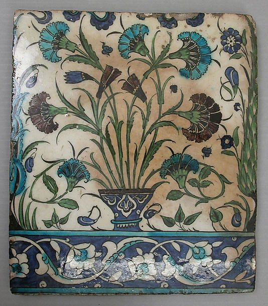Tile, stonepaste, painted and glazed. Syria, circa 16th century: