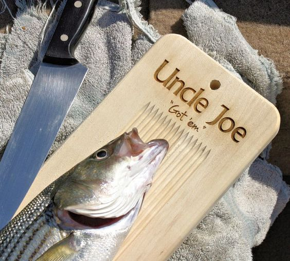 Personalized fish cleaning cutting board w tail clamp for Hunting and fishing gifts