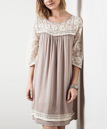 Latte Lace Trim Tunic Dress - Women