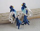 Vintage Silver Blue Enamel Lovebirds Brooch Figural Bird Pin $11