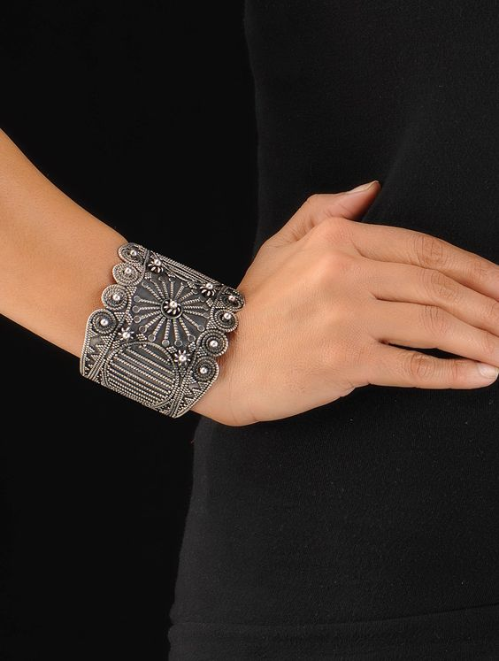 Floral Silver Cuff (Adjustable)  handmade jewelry