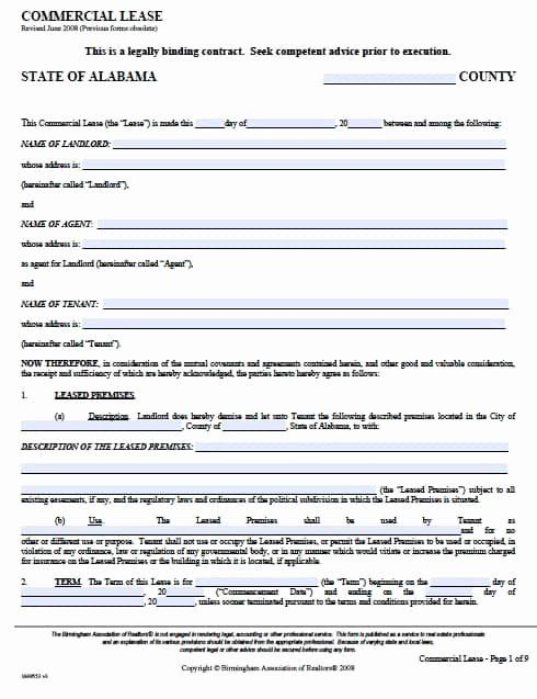 Commercial Vehicle Lease Agreement Template New Free Alabama Mercial Lease Agreement Pdf Templat Rental Agreement Templates Lease Agreement Contract Template
