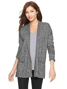 love that this is cotton, open styling and long enough to cover if i wore with leggings! also love that it's not so big/heavy looking that it would transition seasons (and be good for summer over-a/c situations). Pure Body marled sweater