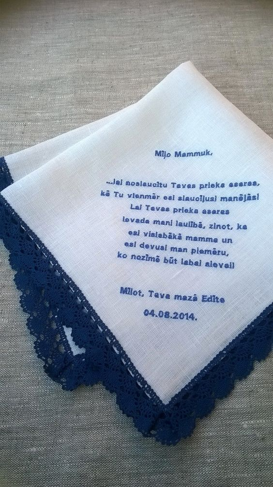 Custom made Natural linen handkerchief with by SanpoEmbroidery