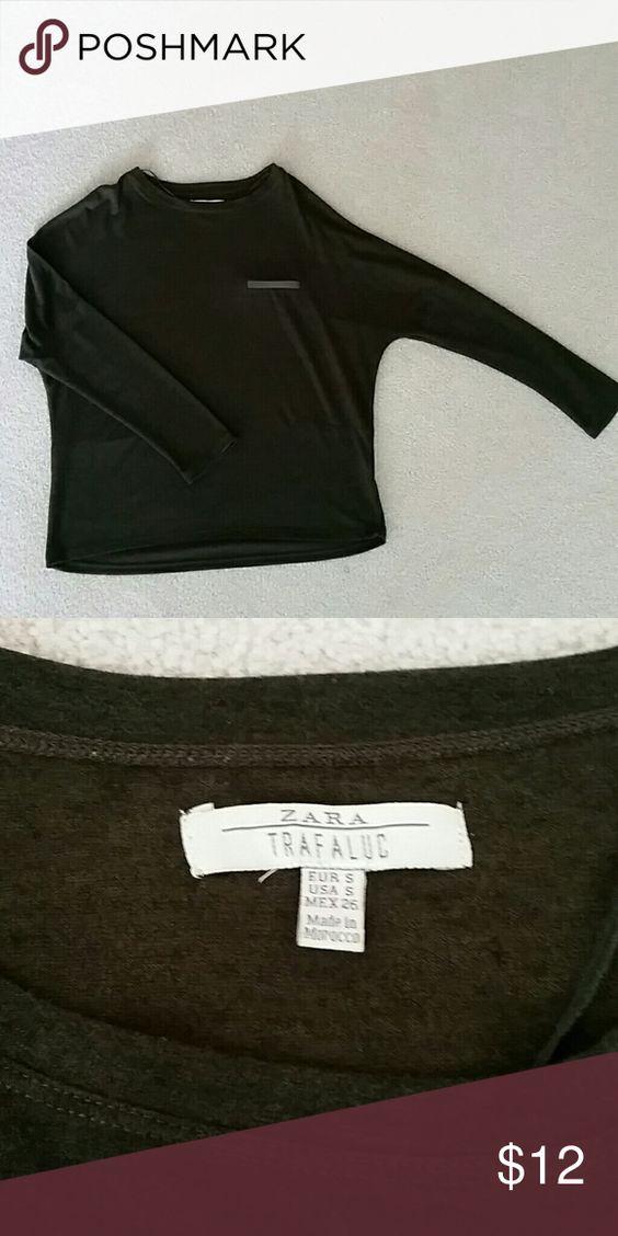 Zara top Zara oversized top. 78% polyester, 17% viscose, 5% elastane. Charcoal khaki color. Zara Tops Tees - Long Sleeve