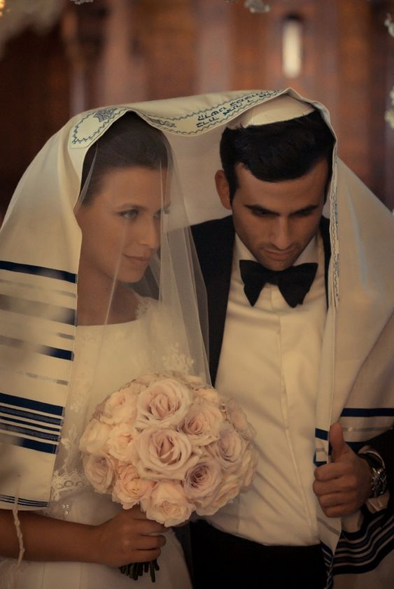 Jewish Wedding Ceremony, tallit wrap