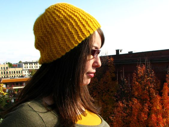 Knit Hat Patterns Straight Needles : H&M Hat Knit Pattern with straight needles - made it in purple with a wid...