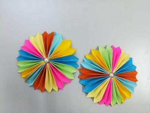 عمل وردة رائعة ملونة بالورق Make A Paper Flower اشغال يدوية Youtube Paper Crafts Crafts Origami