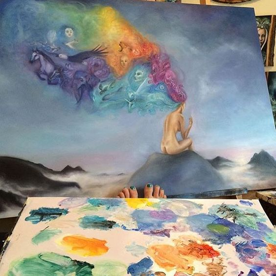 Beautiful watercolor pastel oil painting of spiritual thoughts psychology  Nirvana Art by @ericawexler - Follow our backup @artspotted