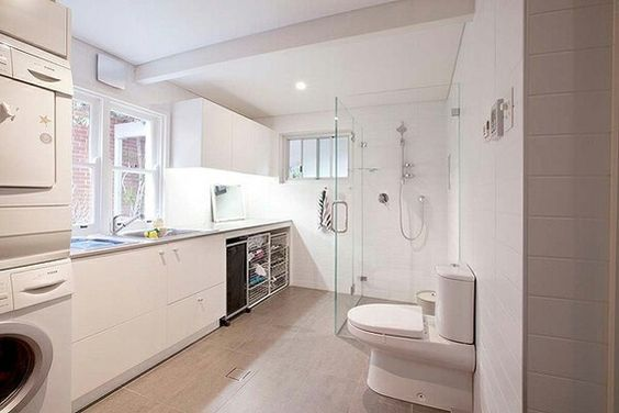 Laundry with shower. Ignore toilet as that's where the door to/from your bathroom is.