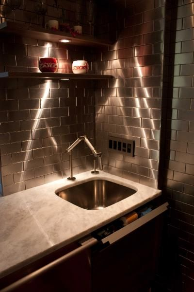 customer photo stainless steel tile kitchen backsplash. Black Bedroom Furniture Sets. Home Design Ideas
