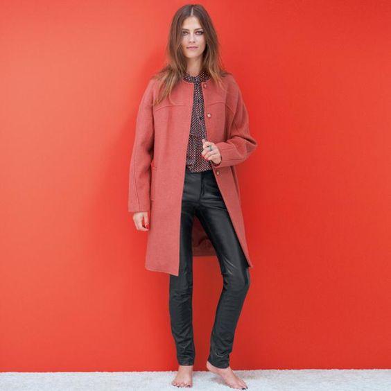 manteau en laine bouillie, manteau rose femme, design long épuré