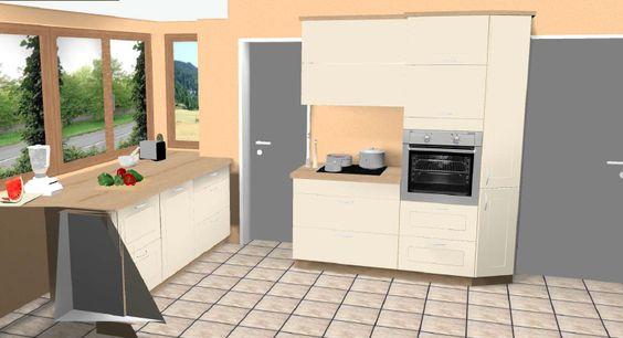 Küchen #design 3D mit #Rundelement #moderner #Landhausstil - nischenplatten für küchen