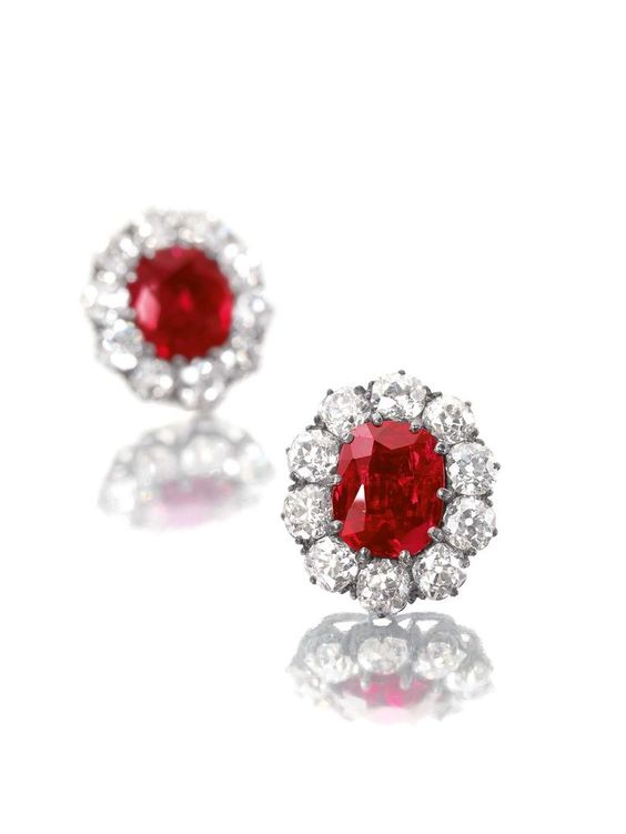 diamond earrings featuring two unheated rubies weighing 6.80 and 6.70ct respectively, which originate from the world's best ruby source, the famous Mogok Valley in Burma