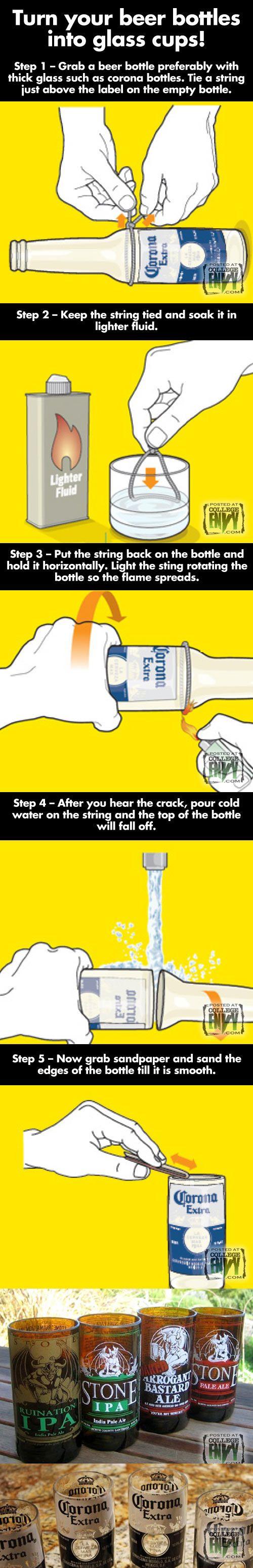 """Como sobra a parte do """"pescoço"""" da garrafa, dá de fazer um copinho de shot (sai um kit pra submarino a partir da garrafa haha)"""