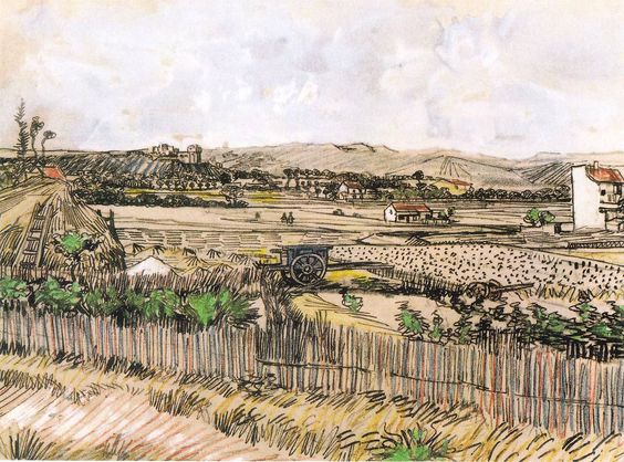 The Athenaeum - Harvest in Provence, at the Left Montmajour (Vincent van Gogh - )
