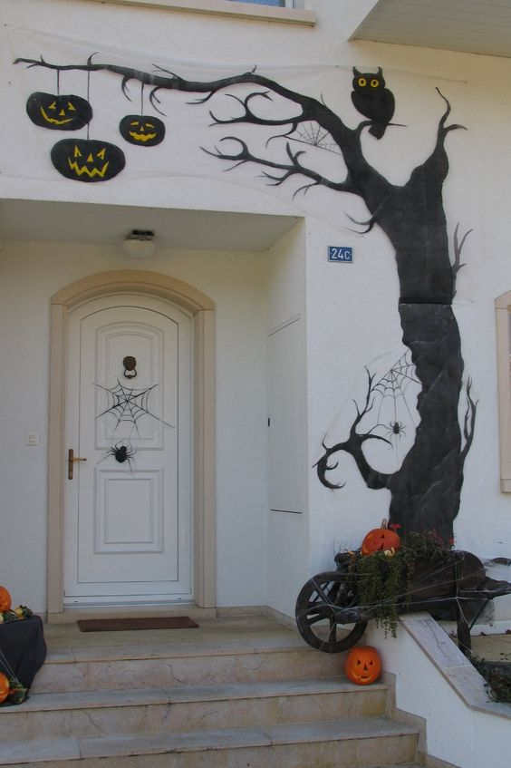 halloween d coration peinture sur toile de jardin r cup et www. Black Bedroom Furniture Sets. Home Design Ideas