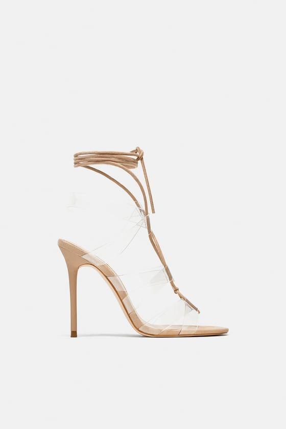 Heeled Vinyl Tie Sandals Zara Women Shoes Tie Sandals Shoes
