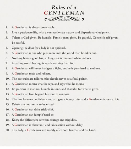 Rules of a gentleman - Euroman