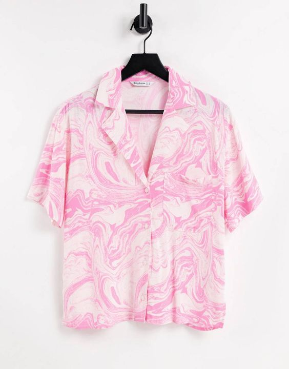 Stradivarius marble print boxy shirt in pink