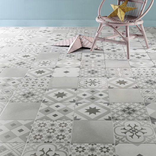 Carrelage sol et mur gris effet ciment gatsby x - Carrelage gris clair leroy merlin ...