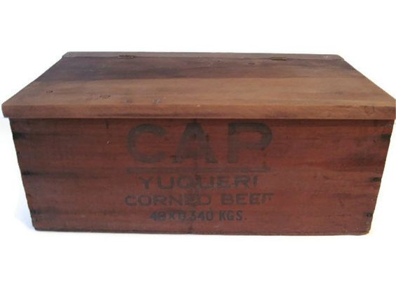 Wood Crate With Lid Cap Corned Beef Yuqueri by PhotosPast on Etsy, $60.00
