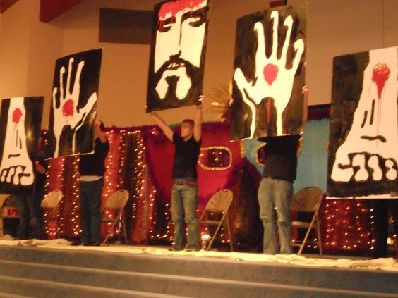 This was so powerful! When my youth group girls went to the Bloom girls conference they did this. they brought out blank boards and painted these right on stage, and the whole time they had a song about Jesus dying for us in the background. Gave me goosebumps!