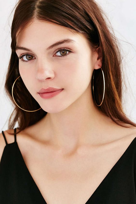 Sterling Silver + 18k Gold Plated Rachel Large Hoop Earring - Urban Outfitters: