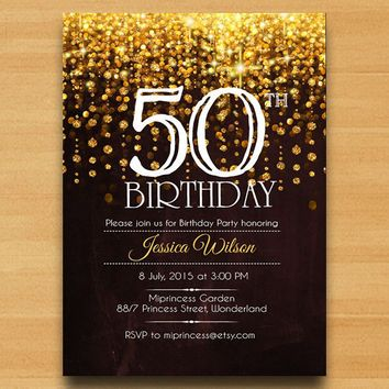 Gold Glitter Fifty and Fabulous 50th Birthday Invitations [DI-444 ...