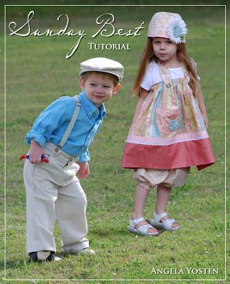 """Tutorial for """"Sunday Best"""" clothes - Boy Suspenders and girl dress/hat"""