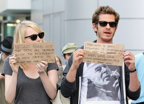 More celebs should follow suit http://gothamist.com/2012/09/17/emma_stone_and_andrew_garfield.php