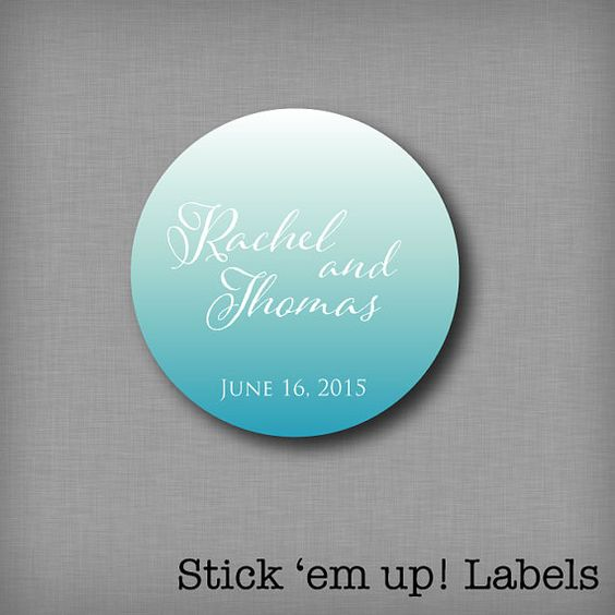 Ombre Wedding Favor Sticker Customized by StickEmUpLabels on Etsy, $5.50 #ombre #wedding