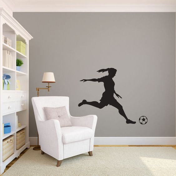 Girl soccer player kicking silhouette sports wall decal custom vinyl art stickers vinyls - Soccer murals for bedrooms ...