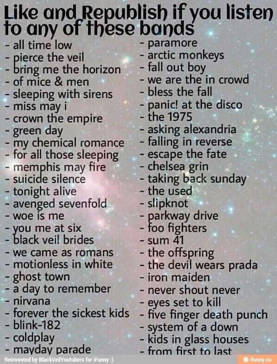 BMTH, MCR, FOB, Forever The Sickest Kids, Iron Maiden, paramore, kids in glass houses, BVB, you me at six, panic at the disco