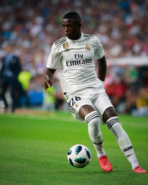 Vinicius Junior of Real Madrid CF controls the ball during the ...