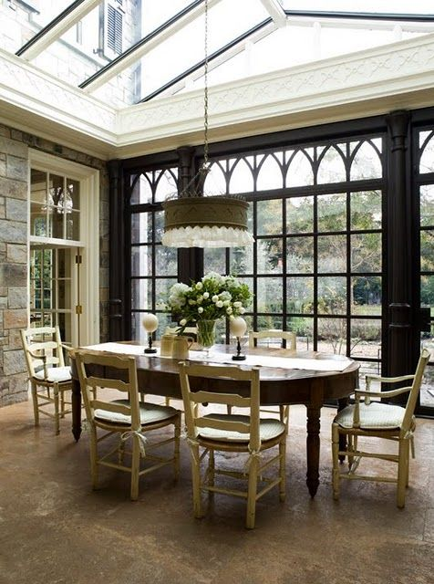 Conservatory dining area stone wall black gothic arch windows inspired design my dream - Sunroom dining room ...