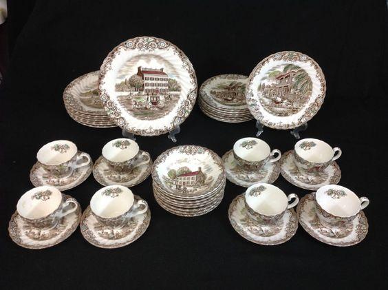 Johnson Bros. Heritage Hall 40-Piece Set for EIGHT  Brown Transferware  #JohnsonBros