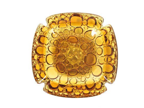 Large Vintage Amber Bubble Glass Ashtray, Retro Yellow Glass Pebble Cigar Ashtray by HerVintageCrush on Etsy