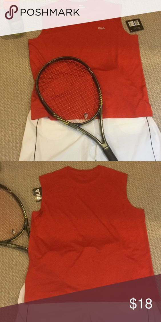 Fila Sleeveless Tee This great orangy red sleeveless tee is from the Fila Performa Energy line that has wicking and stretch.  It's great for tennis or working out or any other activity. Fila Shirts Tank Tops