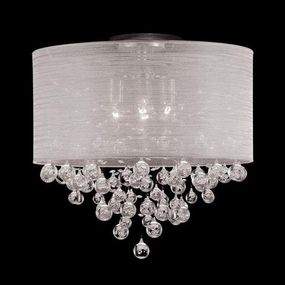 new 4 lamp drum shade crystal flush mount ceiling light lighting dia