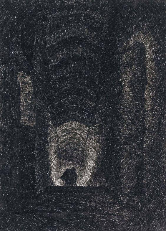 Fritz Schwimbeck (1889-1972) Golem Dunkle Gange 1917 (17,7 x 12,6 cm):