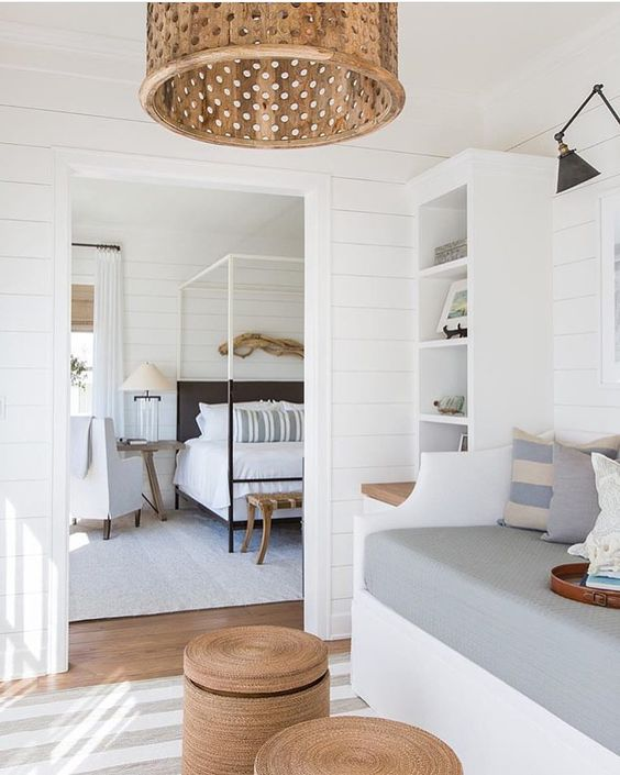 white shiplap and curtains