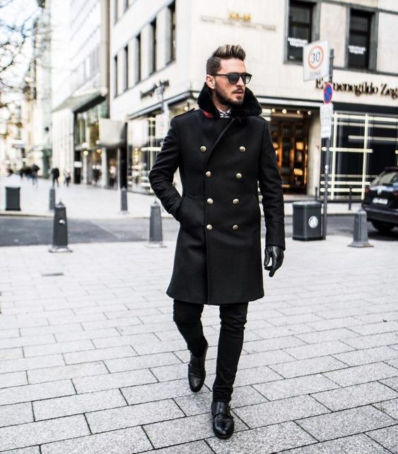 50 Stylish Ways to Wear a Pea Coat for Men. Black peacoat with office suit 1. Click image to view more.  #men #mensoutfits #UrbanMenOutfits #mensfashion #mensguides #menswear #menstreetstyle #streetstyle #ootd #winter #winterfashion #wintermensfashion #peacoat #peacoatmen #winteroutfits