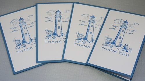 Lighthouse Thank You Hand Made Stationery Note Card Set of Four | Laurascrafts - Paper/Books on ArtFire