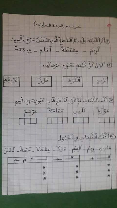 Resultat De Recherche D Images Pour تمارين حرف الميم Learning Arabic Teaching Education