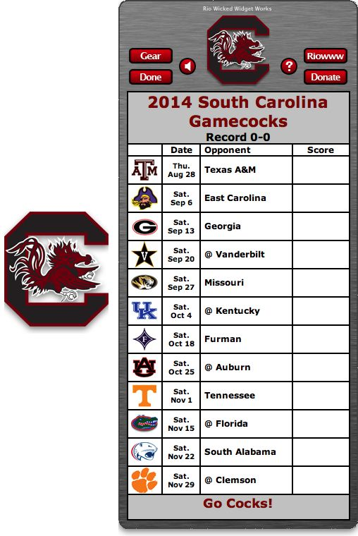 Free 2014 South Carolina Gamecocks Football Schedule Widget for Mac OS X - Go Cocks!  http://riowww.com/teamPages/South_Carolina_Gamecocks.htm
