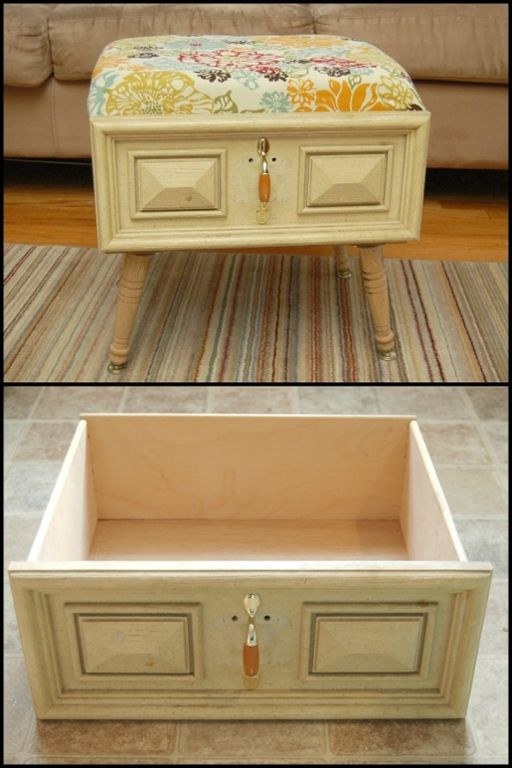 Got an old drawer? Give it a new life by turning it into an ottoman ...