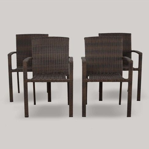 Sit Down For An Al Fresco Meal At Your Patio Dining Table With The 4pk Sheridan Wicker Stack Stacking Patio Chairs Outdoor Wicker Chairs Patio Chairs